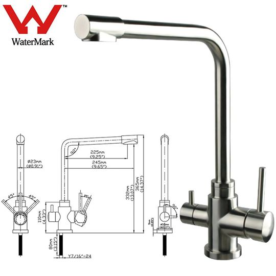 australia watermark stainless steel 3 way water filter mixer tap  hot  cold  pure