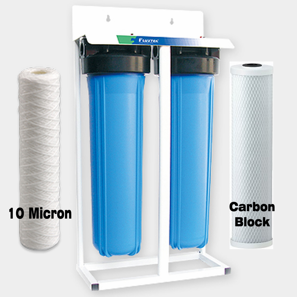 "Skid Mounted Whole House Big Blue High Flow Twin 20"" x 4.5"" Water Filter System with Sediment & Carbon Cartridges"